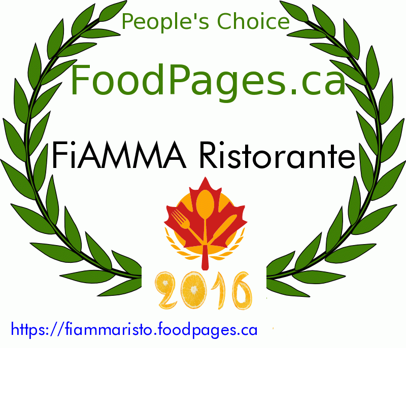 FiAMMA Ristorante FoodPages.ca 2016 Award Winner